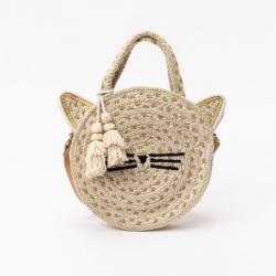 Petit sac rond en paille chat